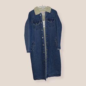 Wool-filled Long Denim Jacket